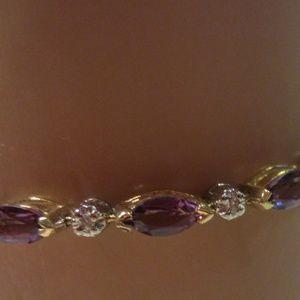 Jewelry - 14k diamond and amethyst bracelet